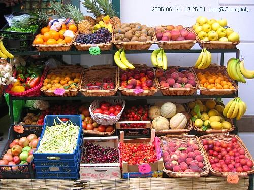 鮮豔的水果攤