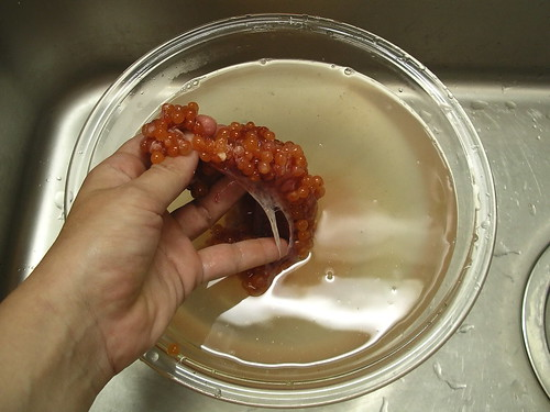 Removing roe from membrane