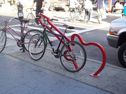Bicycle rack designed by David Byrne