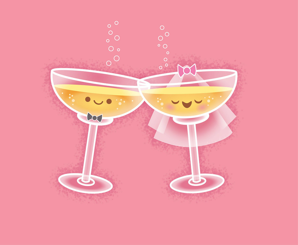 Kawaii Wedding Card - Champagne