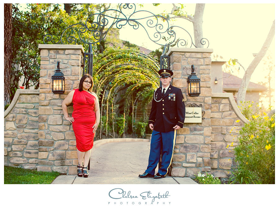 Westlake Village Inn Wine Cellar Vintage Engagement portrait