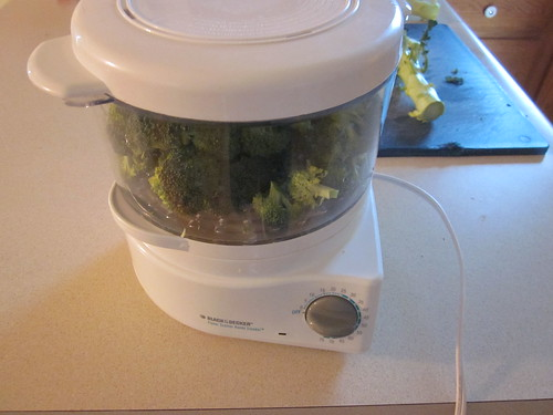 Broccoli in steamer