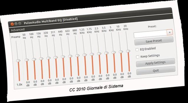 Figura 1 -  PulseAudio Equalizer, equalizzatore audio 15 bande per Ubuntu;