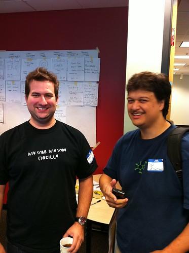 QR Code Nerds @theRab and @hartsock at BarCamp RDU 2010