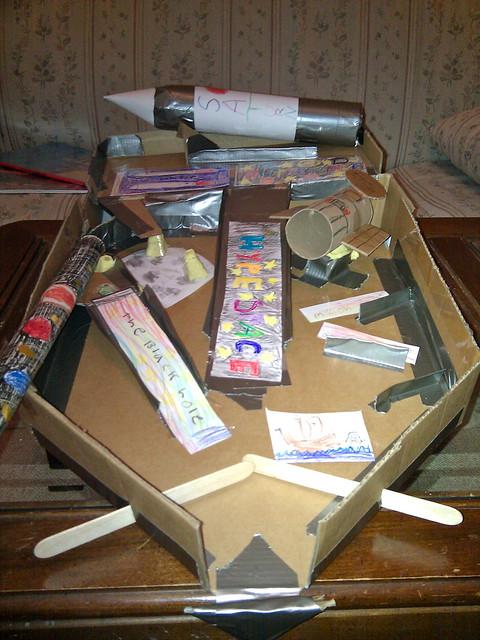 The Kids And I Make A Cardboard Pinball Machine Or Duct