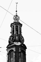 Streetcars (DEARTH !) Tags: travel blackandwhite tower clock netherlands lines amsterdam europe clocktower streetcar dearth