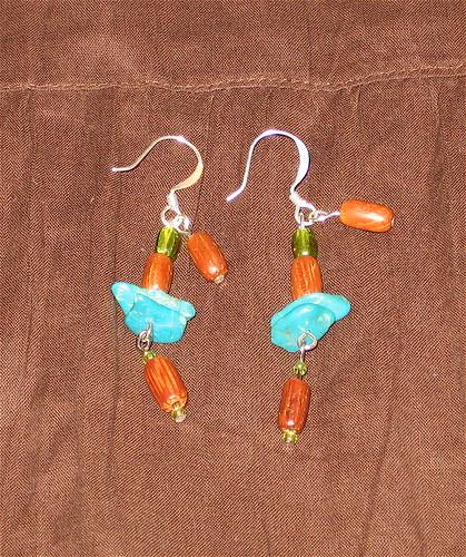 Wood & Turquoise Earrings CU