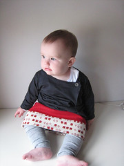 Handmade (6.5st) Tags: red wool squirrels handmade top knit skirt charcoal cashmere sewn babyclothes superbuzzy