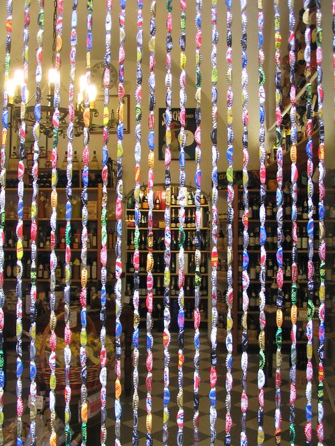 recycling ideas: unique curtain with bottle caps