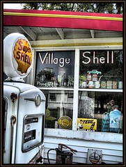 Village Shell (K2D2vaca) Tags: old reflection window shell gas gasstation il pump camel rootbeer gaspump mansfield illinios motoroil centralillinois route150 flickrsbest aplusphoto diamondclassphotographer k2d2vaca villageshell mansfieldillinois