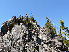 Mike on the false summit of Volcanic Neck with Ian in pursuit, 7.29.07.