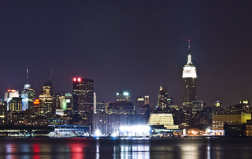 A night shot of part of the NYC skyline from Hoboken, NJ.