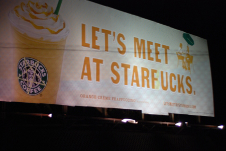 Defaced Starbucks sign