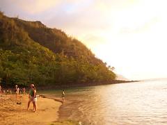 Ke'e Beach (erikakay) Tags: ocean blue sunset sea summer sun mountains beach water garden island hawaii coast sand surf kayak sailing scuba hike na jungle kayaking kauai tropical shaka tunnels pali swimsuit aloha napali hanalei kee