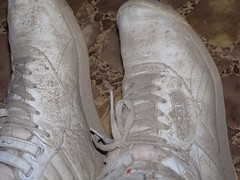 Next day after beating the dryed mud off. (Sneaker fan) Tags: wet outside shoe freestyle shoes ditch mud womens sneakers messy worn muddy wam reebok