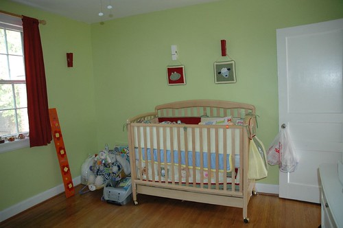 The nursery (that corner of junk will be a tall white dresser)