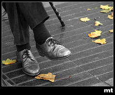 Otoo (manolotoledo) Tags: bw white black hoja blanco digital cutout hojas foot shoe leaf shoes negro olympus bn zapatos pies zuiko baston e500 cordones zd olympuse500 40150mm desaturado odelot manolotoledo