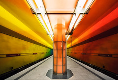Rainbow (Philipp Klinger Photography) Tags: light shadow color station architecture subway munich mnchen point bayern bavaria rainbow nikon colorful spectrum metro sub oberbayern vivid symmetry ubahn handheld vanishing philipp haltestelle ubahnstation klinger monachium candidplatz d700 vanagram