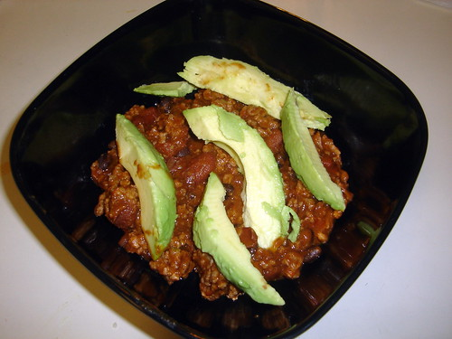 Chili Topped with Avocados