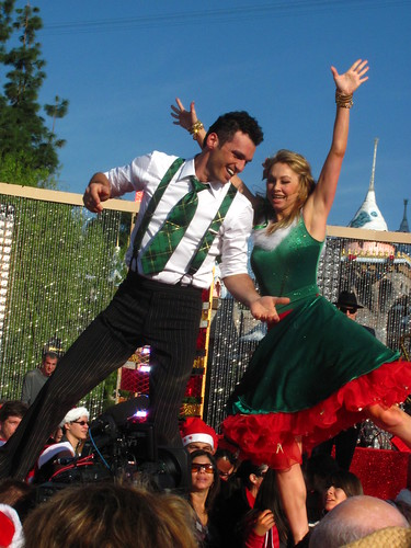 Tony Dovolani and Kym Johnson perform in front of Sleeping Beauty Castle