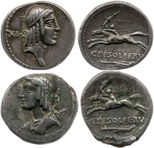 61BC 408 C.PISO FRVGI solid silver and plated coin, apparently reverse die matches but see rev. border dots 7-9pm, the die for the plated coin was made by reproducing a real coin the finished incorrectly by hand
