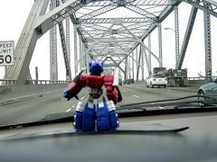 Optimus Prime at the Bay Bridge (nebulon9) Tags: sf trip bridge movie prime bay transformers optimus