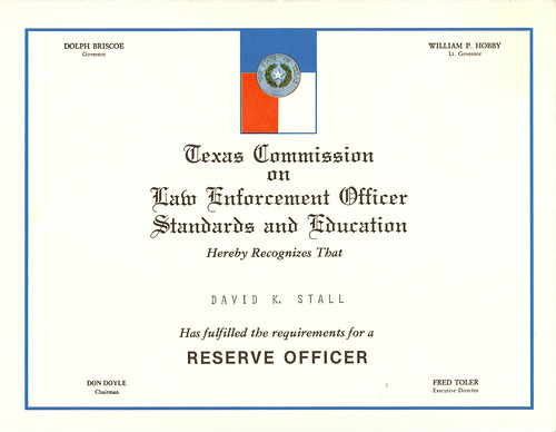 journeyman certificate. Reserve Officer Certificate