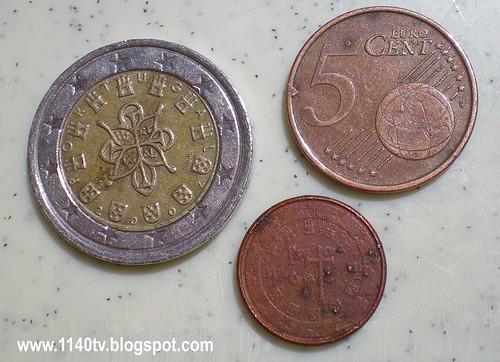 1 euro, 5 cêntimos e 1 cêntimo