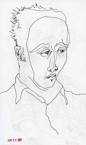 Sketch of Geoff, ink on paper, 2007 by Sarah Atlee