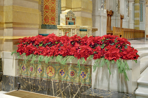 Cathedral Basilica of Saint Louis, in Saint Louis, Missouri, USA - episcopal throne decorated for Christmas