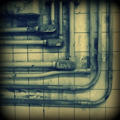 LOVE (Manhattan Girl) Tags: love square crossprocess gritty dirty tiles rusted subwaypipes