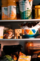 A cool encounter with Mr Bosch the fridge (peachyboii) Tags: food cold cheese canon photography eos fridge amazon cardboard boxes everyday figurine ef tropicana lightroom danbo 40d danboard cardbo