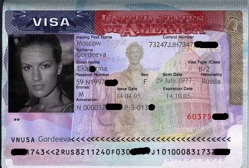 Sample of usa visa