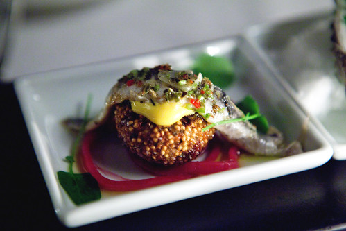 Marinated white anchovy on quinoa croquettes with spicy saffron aioli