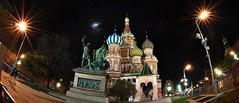 One sweet night. (walai.monstar) Tags: moon building beautiful night lights star exposure sweet moscow redsquare malam bintang awesomeness starlight siang stbasilscathedral russianfederation thedarkside