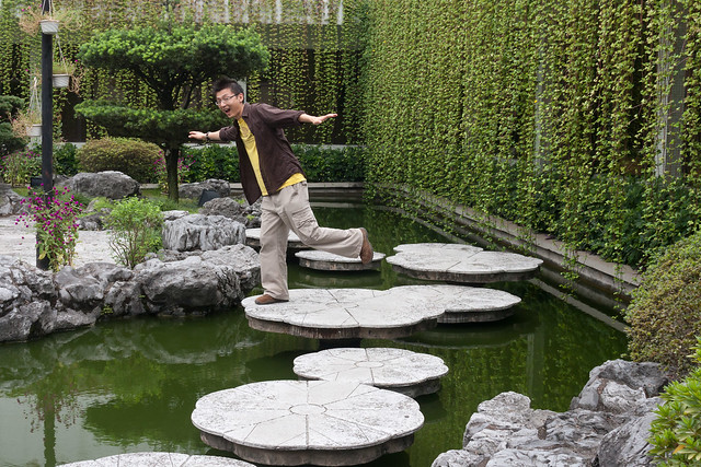Concrete lotus pads in the Guishan Hotel
