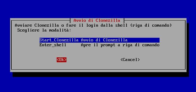 Figura 9 - Partenza di Clonezilla;