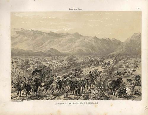 022-Camino de Valparaiso a Santiago-Atlas de la historia física y política de Chile-1854-Claudio Gay