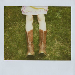 boots (jena ardell) Tags: me polaroid outside dress country jena retro polaroidspectra knees spectra whimsical springtime cowboyboots greengrass paralleluniverse jenaardell takenbyandreadirectedbyjena
