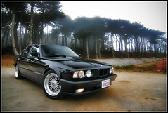 Gloomy (davidbushphoto.com) Tags: sanfrancisco black car euro foggy bmw schwartz e34 525i blackedout style5