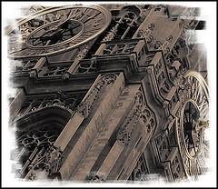 Antwerp cathedral clock tower (antwerpalan) Tags: blackandwhite aj paint churches delicious utata pr antwerp belgica antwerpen googleimages bestshots cannon300d tweeduizend sfchronicle96hrs visiongroup elegantclassy belgiumblackandwhite antwerpalan alandean photosbyalandean photosbyantwerpalan