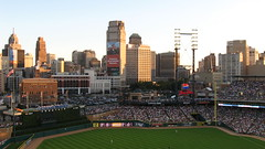 Detroit Skyline from Comerica Park (wcwhiting) Tags: park skyline canon baseball stadium michigan detroit powershot tigers ballpark comerica canonpowershot detroittigers a540 powershota540 billwhiting wcwhiting billwhiing