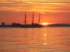 Sunrise over Portsmouth (skipnclick) Tags: sea sky orange sun water square dawn ship glow ripple calm solent portsmouth sail rise tranquil rigger traning 5photosaday