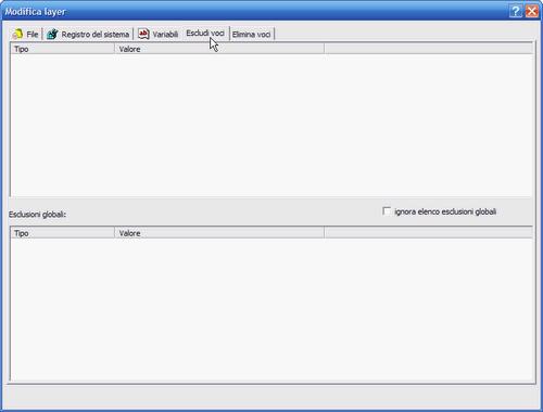 Fig. 2 - Esclusione voci nei layer - tab Escludi voci