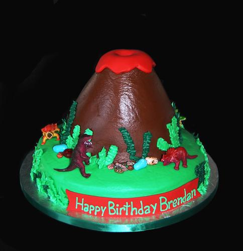 3rd Birthday Dinosaur Volcano Cake