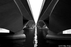 Singapore Architecture (Biju Koshy) Tags: park bridge bw white abstract black water lines architecture modern marina reflections river bay singapore theater under scenic symmetry esplanade straight picturesque contour merlion marinabay merlionpark esplanadebridge onefullerton flickrsbest mywinners flickrdiamond esplanadetheatres theunforgettablepictures