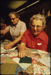Closeup of Senior Citizens Quilting in New Ulm, Minnesota They Are Attempting to Keep the Old Frontier Crafts Alive...