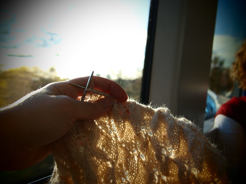 knitting on the train