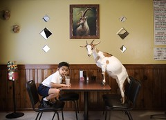 Luis and Cheese (Saverio Truglia) Tags: chicago standing painting head mirrors goat mexican taco squatting horchata