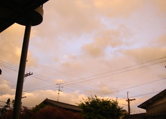 Orange colored sky in the rainy season at Osaka